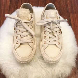 Converse Cream Leather Rose Gold Low Tops
